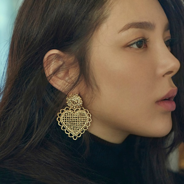 mzuu#[mzuu] 1930 Drop Heart Earrings_MX0XA0280 (골드)